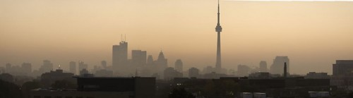 Smog over Toronto sunset