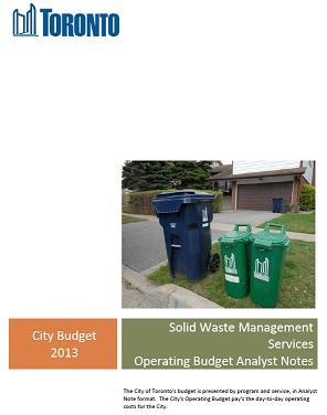 2013 Waste Budget fails 70% diversion plan | Toronto Environmental