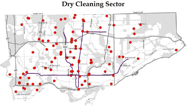 Dry Cleaning Sector Map, City of Toronto (2014)