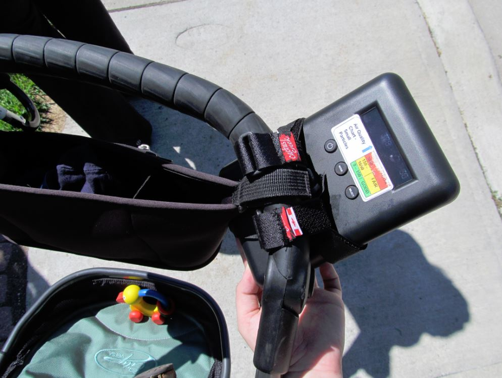 The air monitors can be attached to bikes, strollers and more!