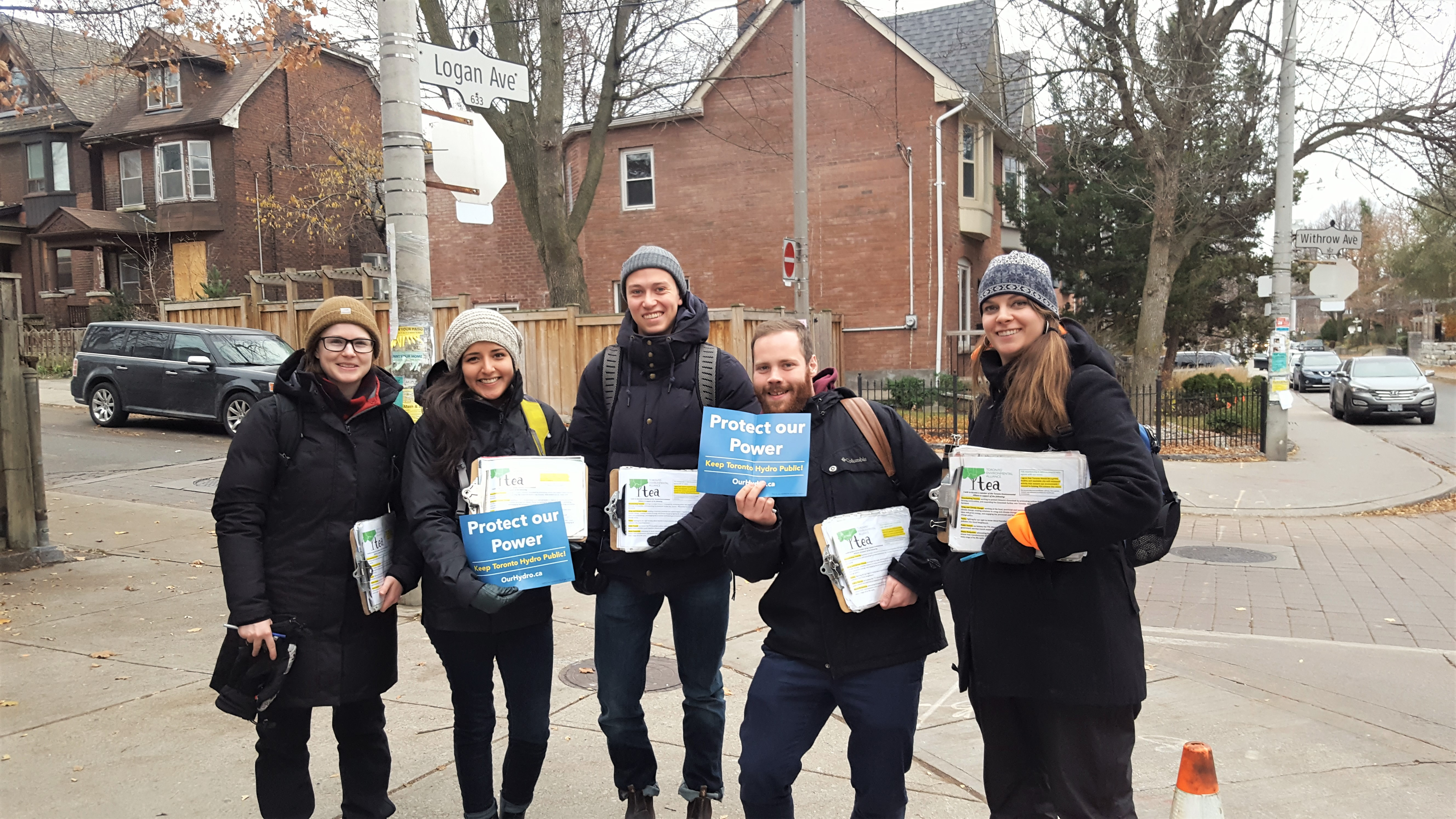 Our canvass team going door to door talking about keeping Toronto Hyrdo public