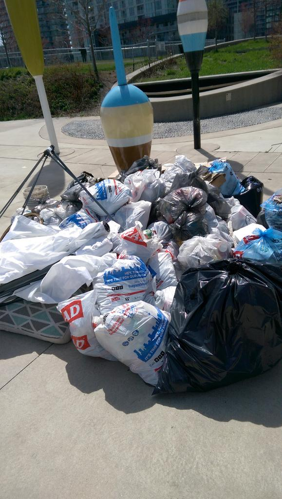 Bags of litter picked up by volunteers