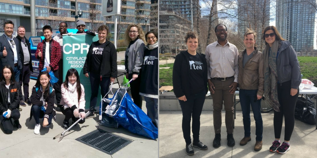 Left: Han Dong with volunteers; Right: Joe Cressy with event organizers
