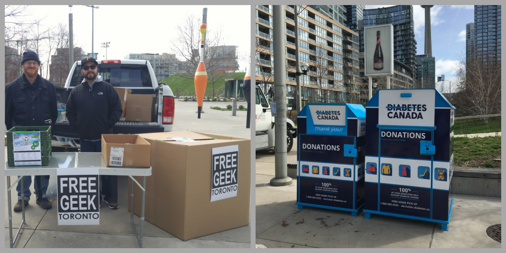 Left: Free Geek Toronto; Right: Diabetes Canada bins