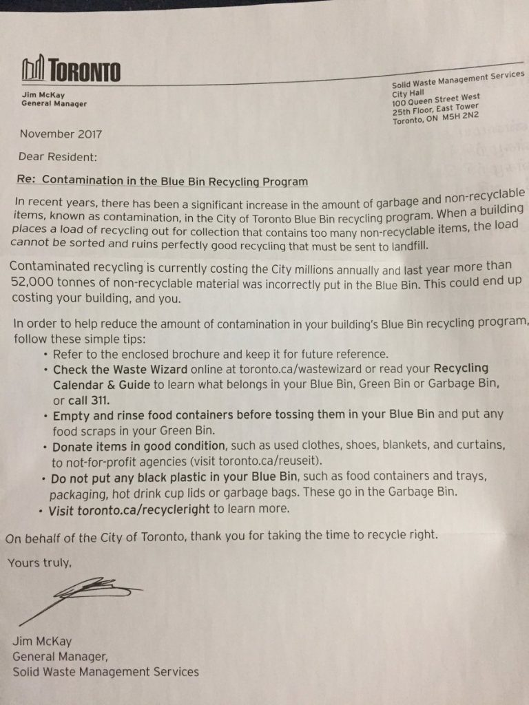 "The City of Toronto's ""Dear Resident"" letter about proper recycling, Dec. 12, 2017."