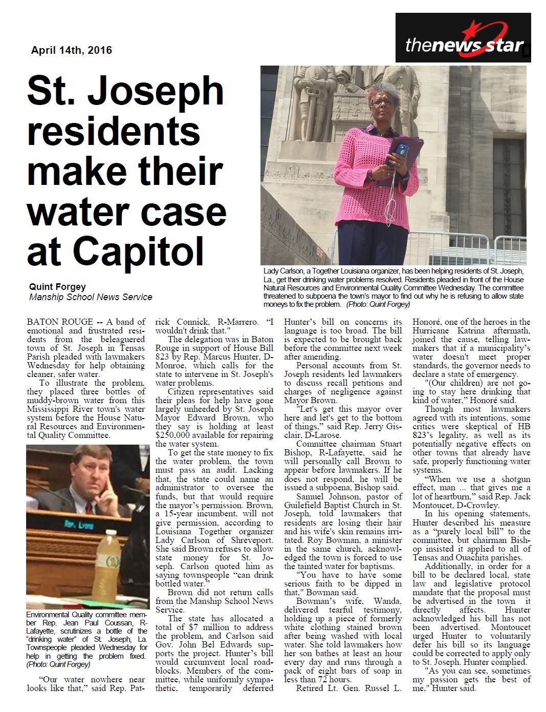 2016-4-14_Monroe_News_Star_St._Joseph_residents_make_their_water_case_at_Capitol.JPG