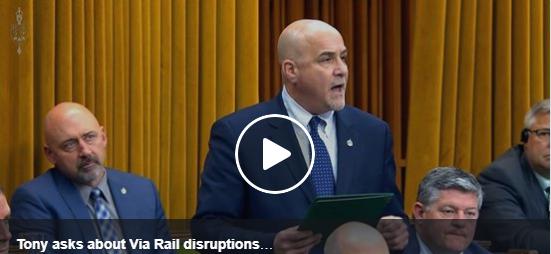 Tony Asks About Via Rail Disruptions