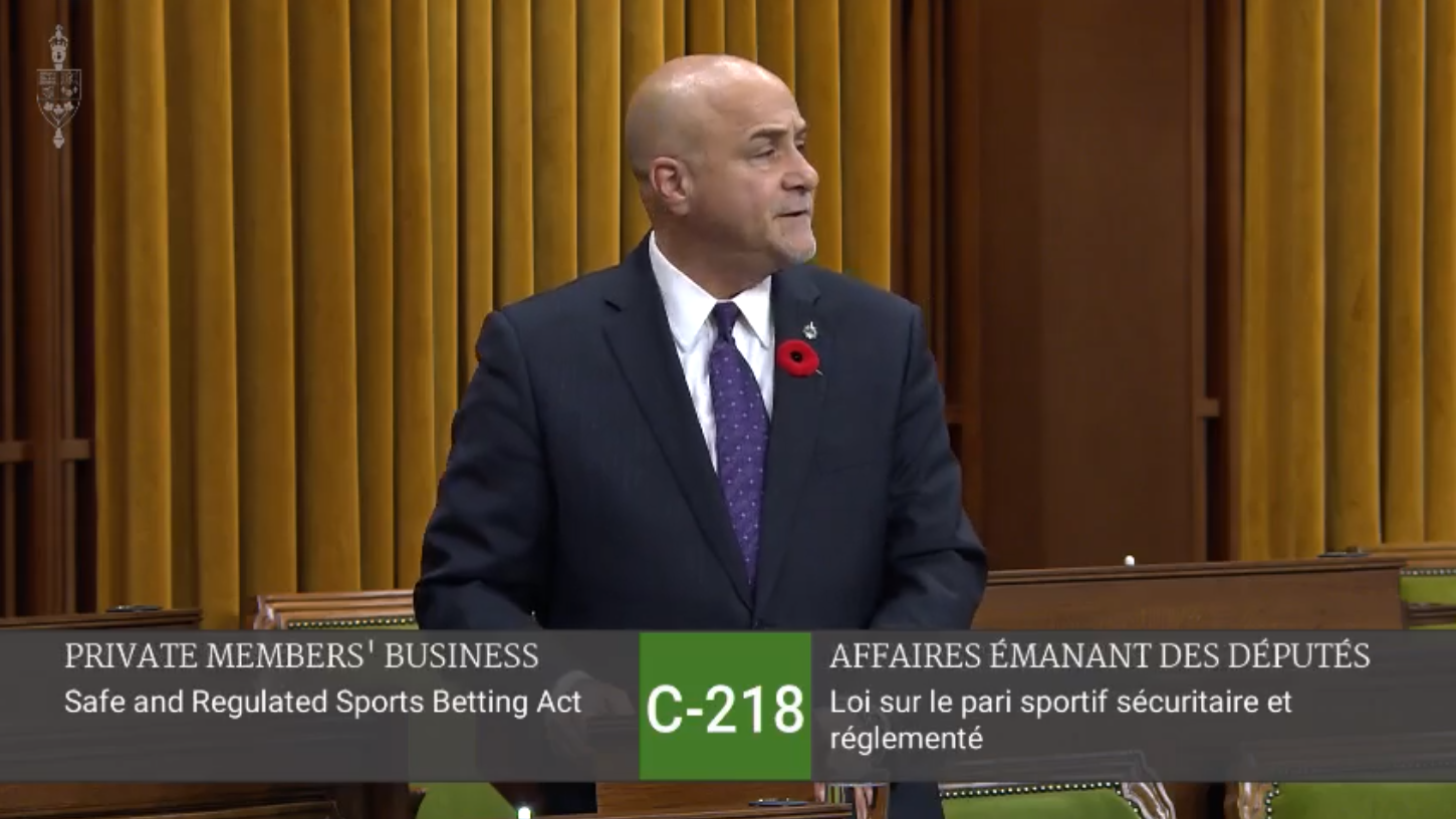 Tony Supports Bill C-218, An Act to Legalize Single-Game Sports Betting