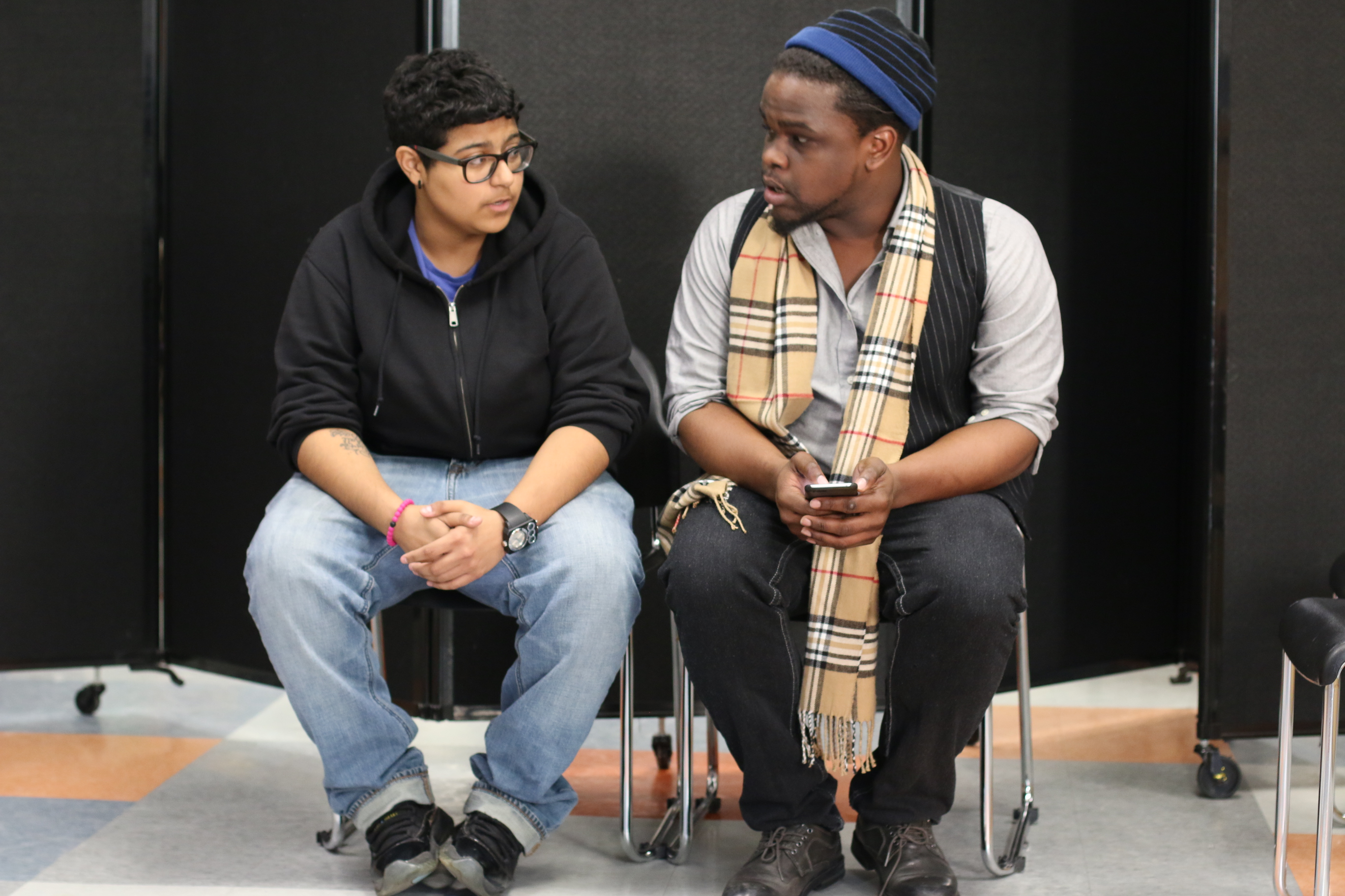Two actors rehearsing a scene from Trap
