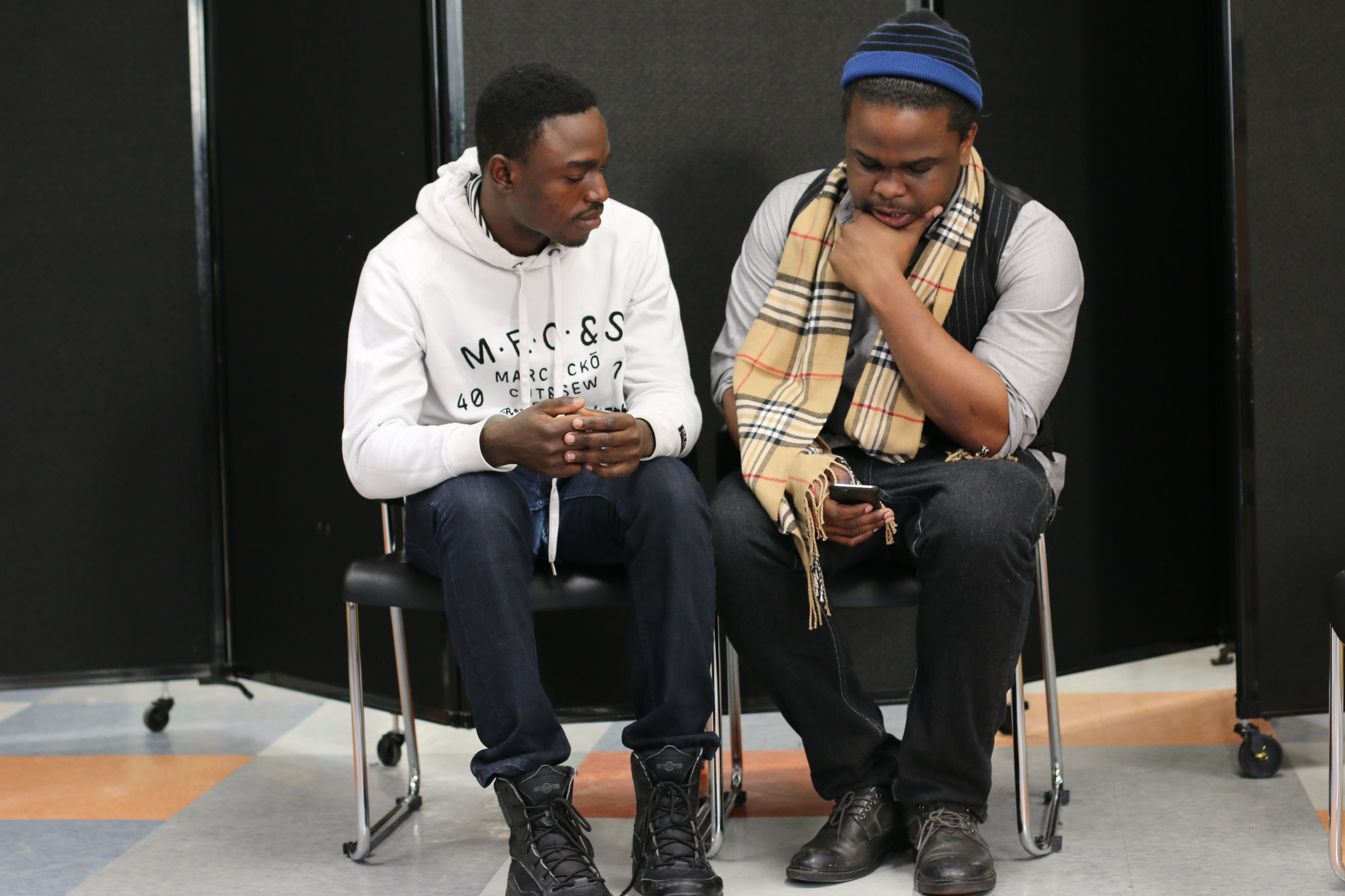 Two actors rehearse a scene for Trap, a new forum play