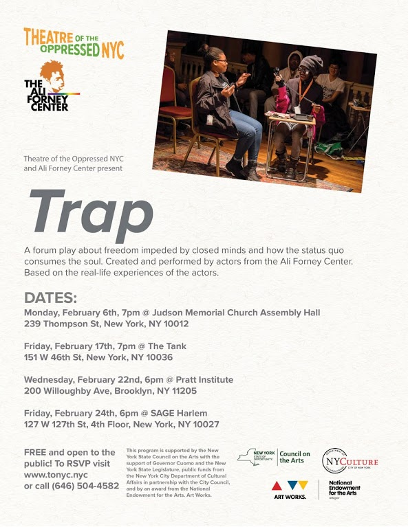 Poster for the upcoming dates for the new forum play Trap