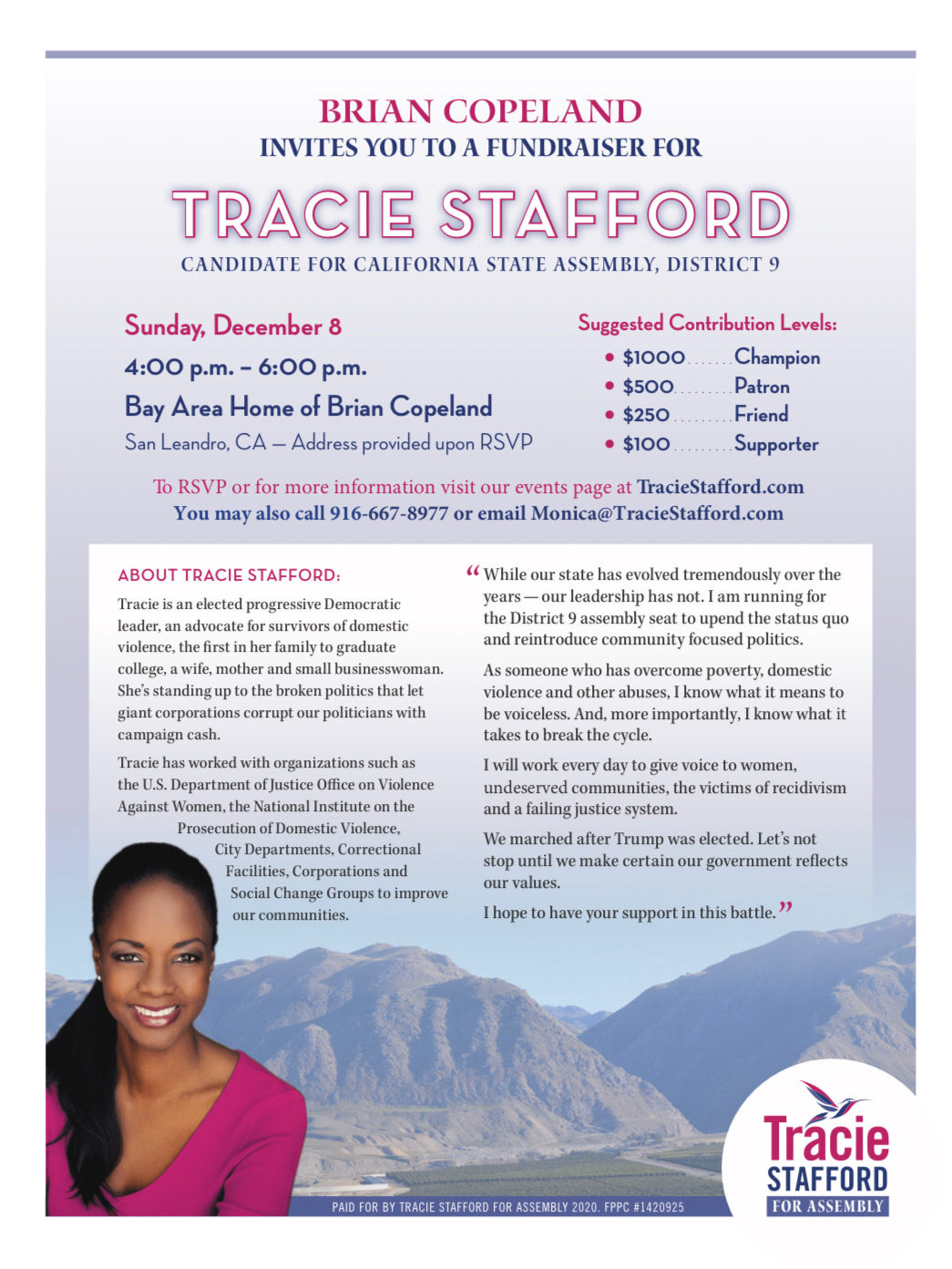 Tracie Stafford for Assembly fundraiser hosted by brian copeland