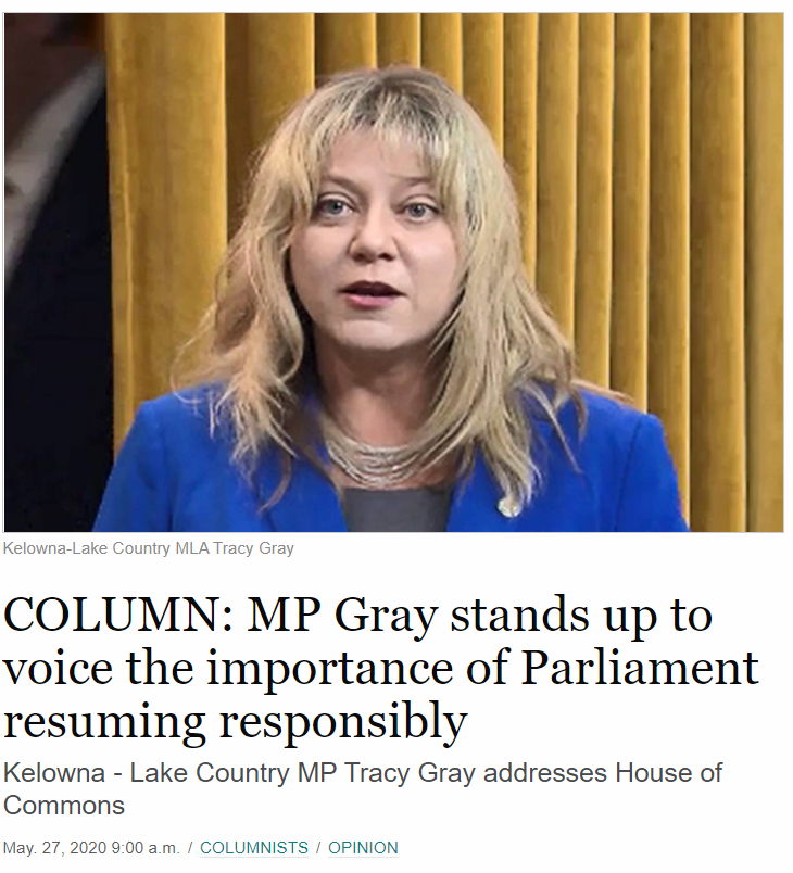 MP Gray stands up to voice the importance of Parliament resuming responsibly (Kelowna Capital News)