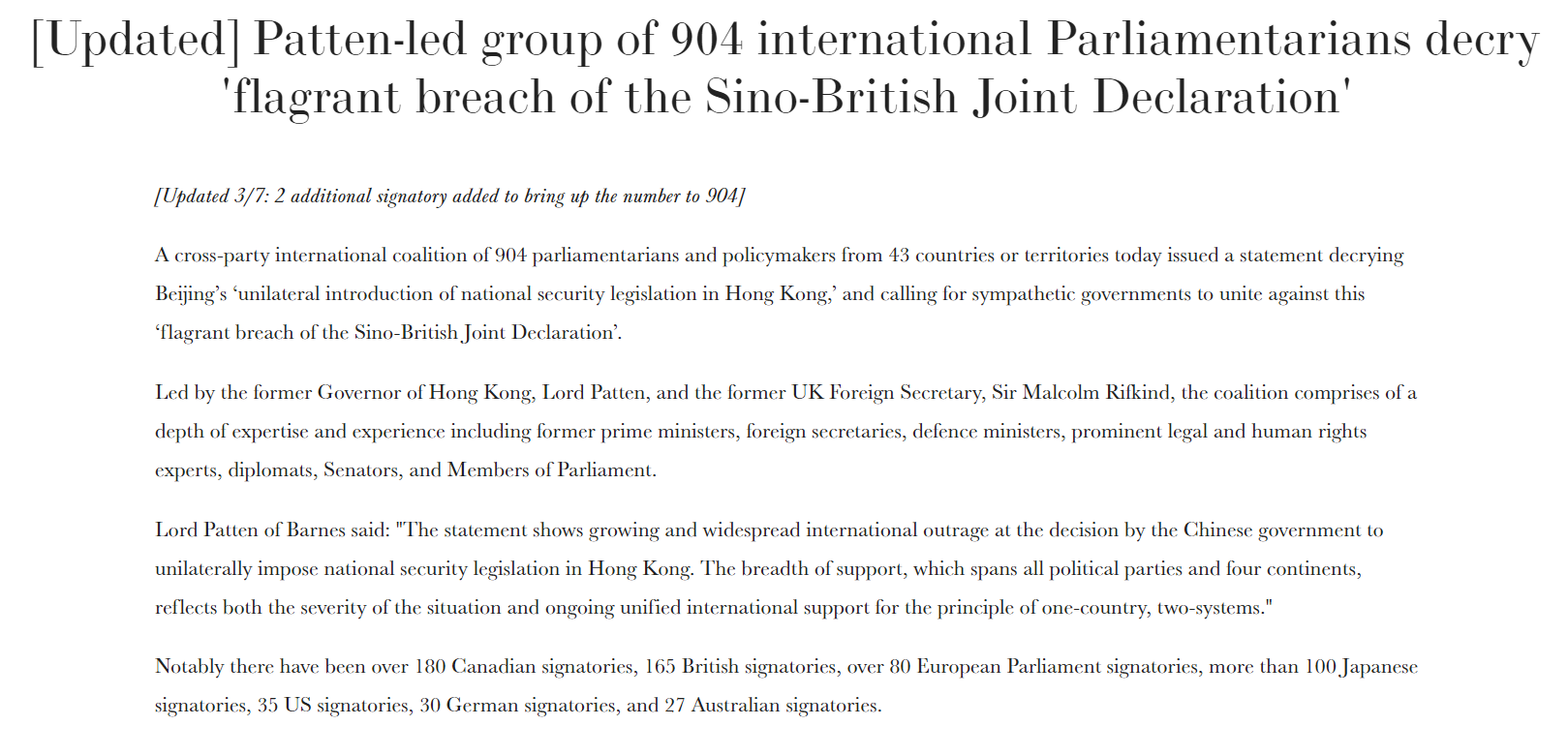 Joint Statement on flagrant breach of the Sino-British Joint Declaration