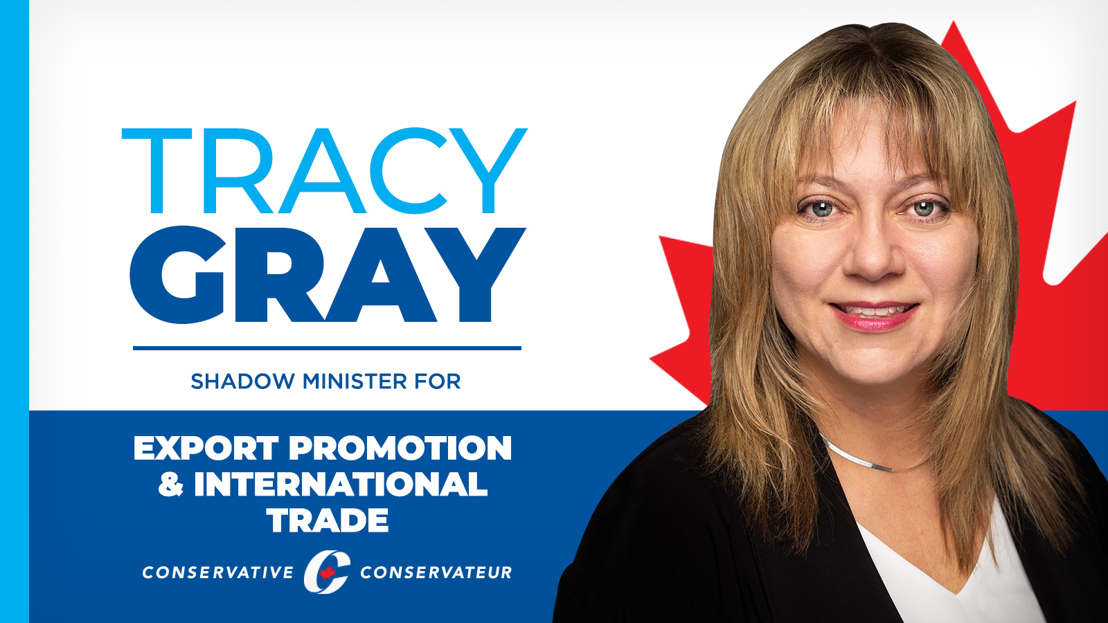 Statement: Tracy Gray named Official Opposition's Shadow Minister for Export Promotion & International Trade