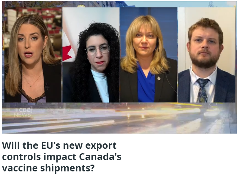 CBC Panel: Will the EU's new export controls impact Canada's vaccine shipments?