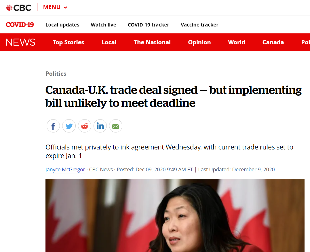 Canada-U.K. trade deal signed — but implementing bill unlikely to meet deadline (CBC News)