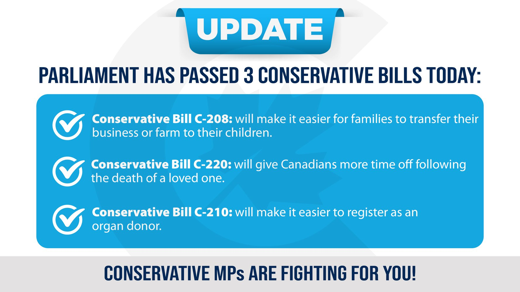 The House of Commons has passed 3 Conservative bills
