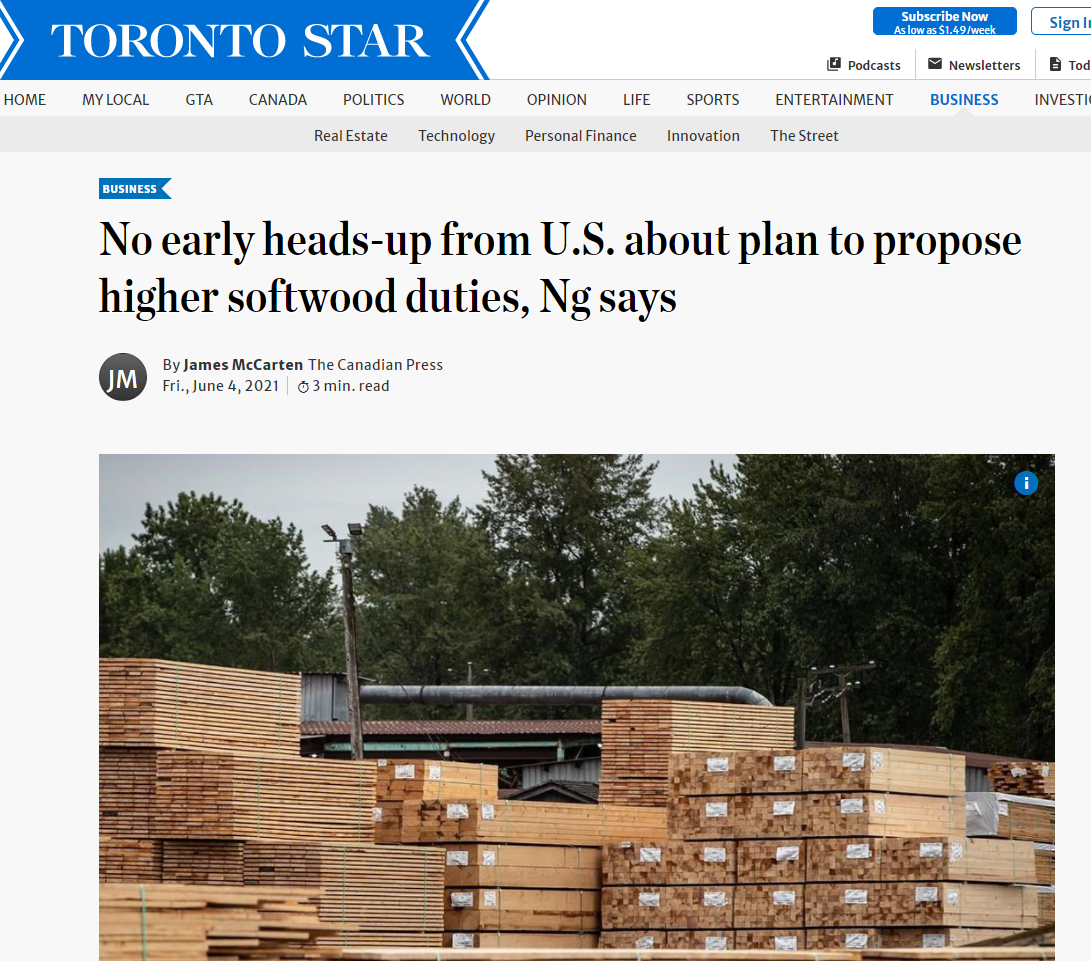 No early heads-up from U.S. about plan to propose higher softwood duties, Ng says (Canadian Press)