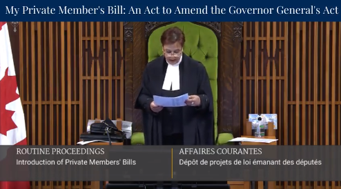 Seconding a bill to reform Governor General Pensions