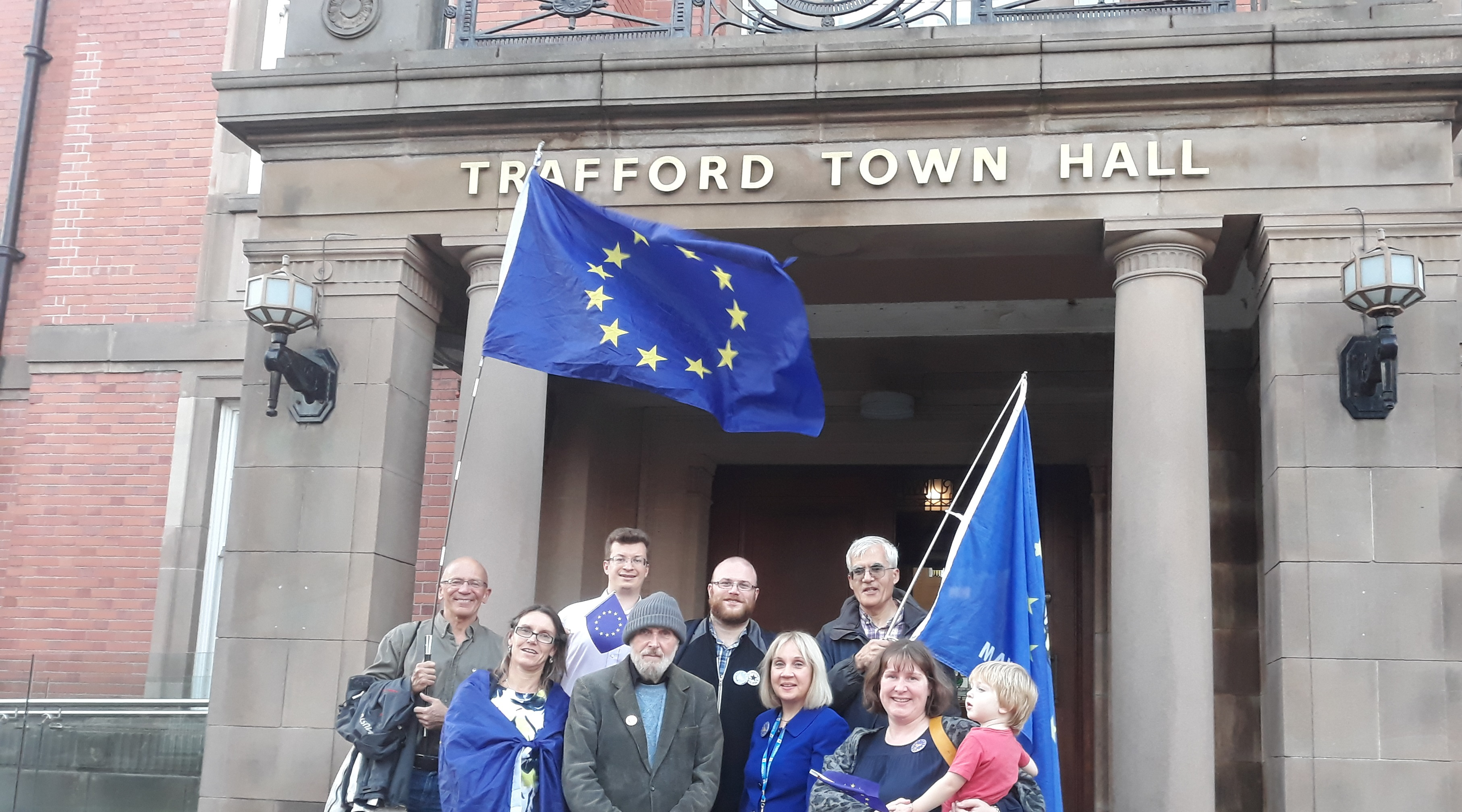 Trafford Lib Dems gather outside the Town Hall before key vote