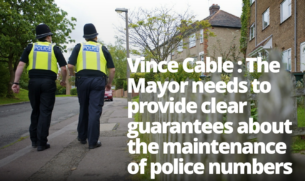 Vince Cable expresses his concerns about changes to local policing
