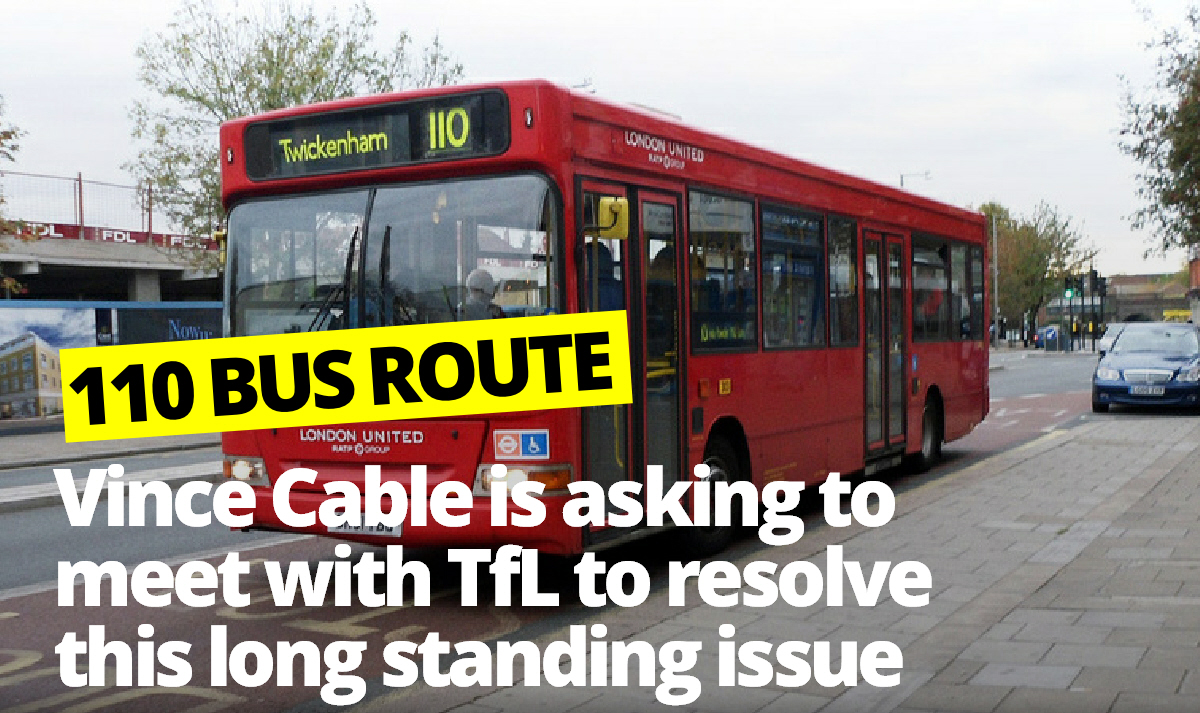 Vince Cable Challenges Transport for London over 110 Bus Route