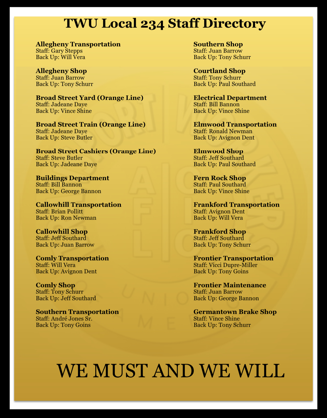 TWU Local 234 Staff Directory