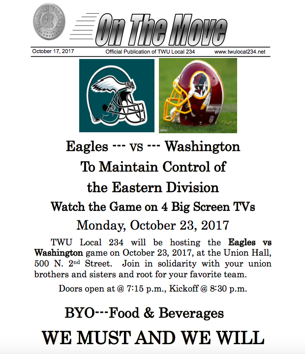 Watch Eagles v. Washington on Big Screen TVs