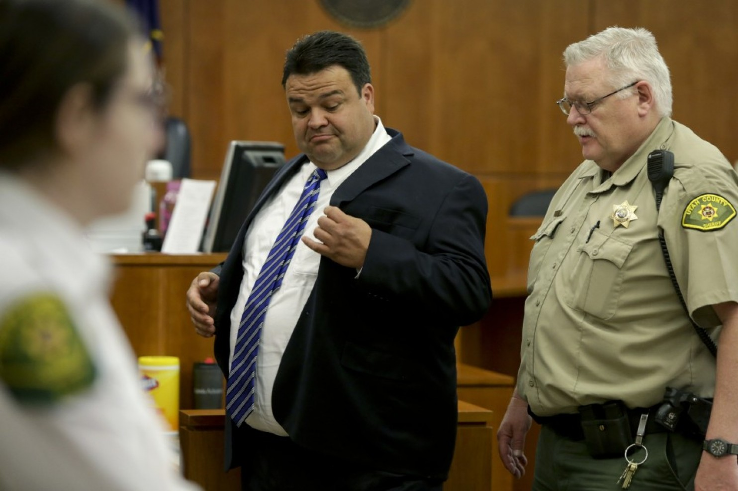 Keith Robert Vallejo leaves the courtroom, in Provo, Utah, on March 30. The former Mormon bishop has been convicted of 11 sexual assault charges. (Dominic Valente/Daily Herald via Associated Press)