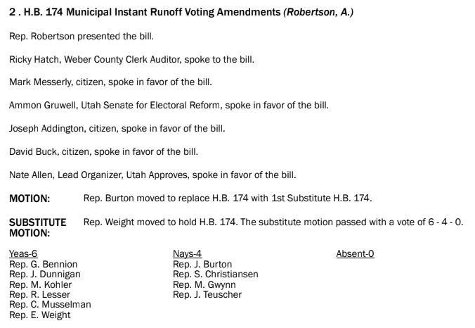 HB174 Results