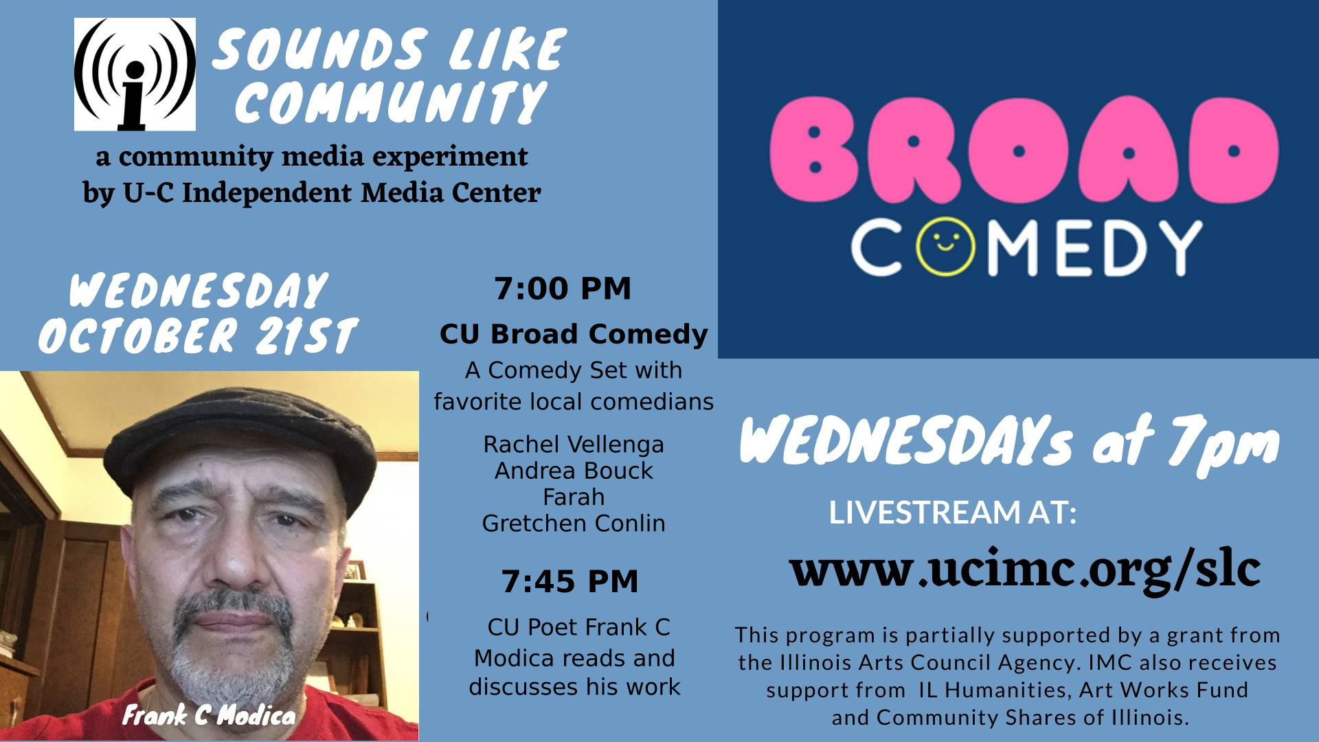October 21: Broad Comedy, and Frank C Modica