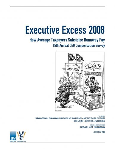 Executive Excess 2008 Report Cover