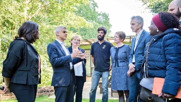 Sadiq Khan at the launch of his Environment Strategy in Woodberry Downs, Hackney