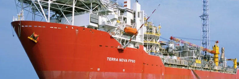 A large red ship bearing the name 'Terra Nova'