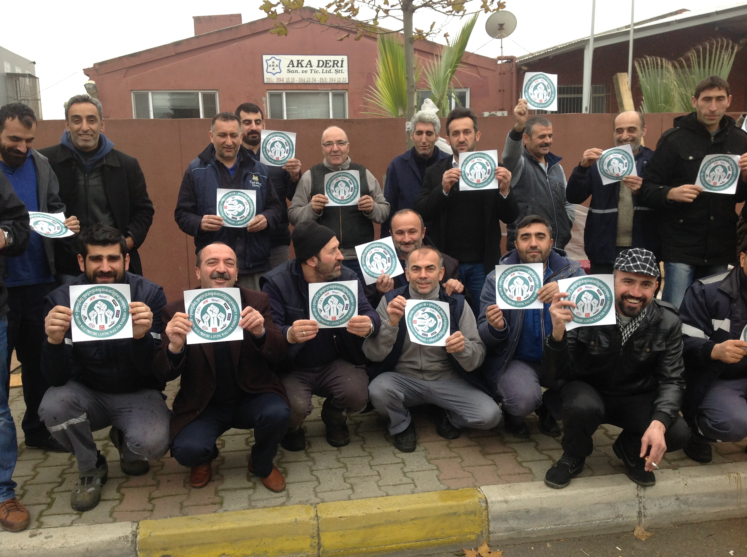 Workers at AKA Deri, members of Deriteks in Turkey demonstrate in solidarity with Cambodian workers