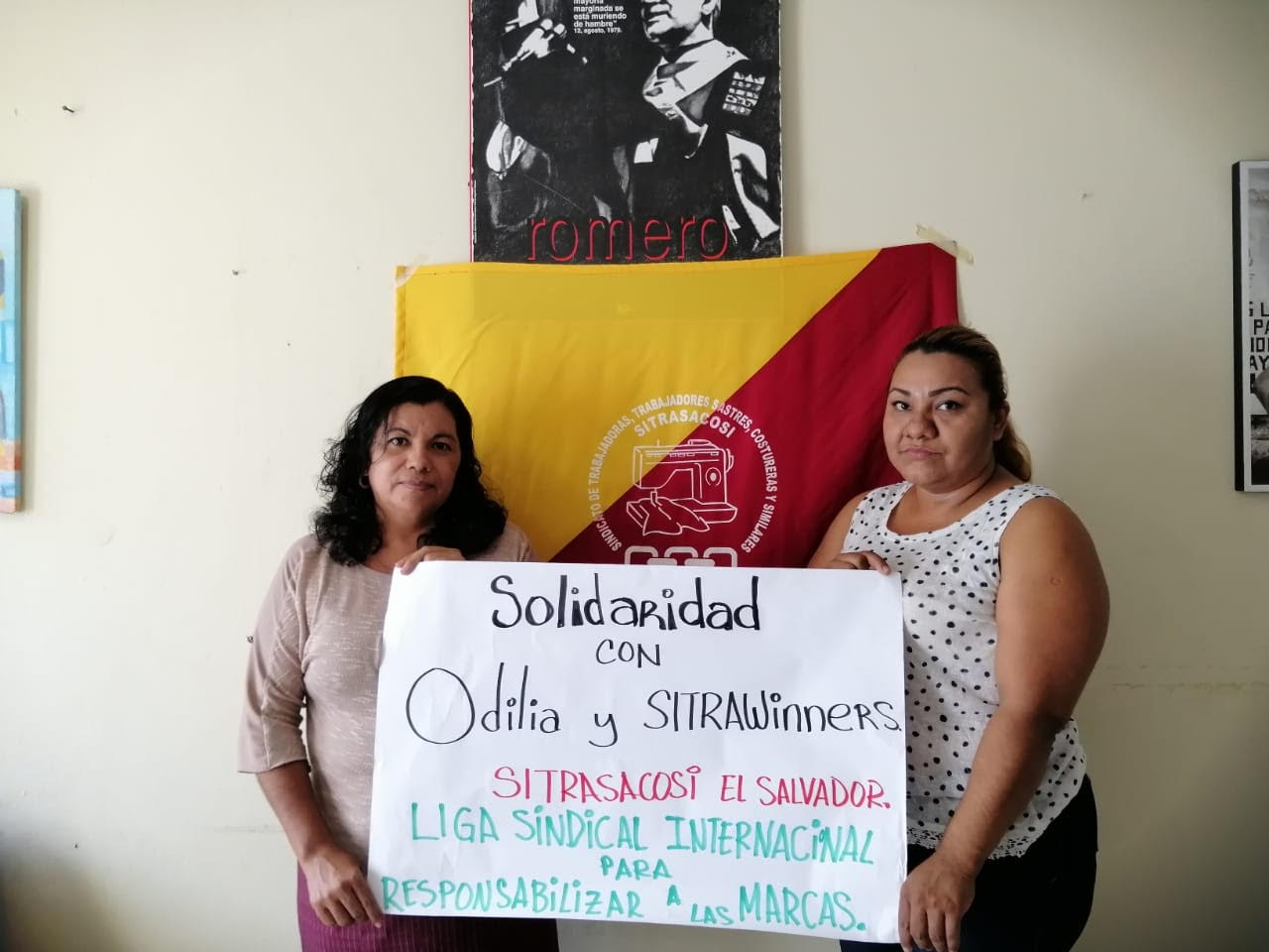 El Salvador: Leadership of SITRASACOSI, including League President Estela R., stand in solidarity with Odilia and SITRAWinners in Guatemala