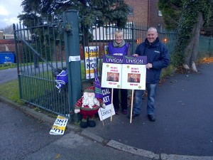 Father Christmas joined the D&R picket line this morning.
