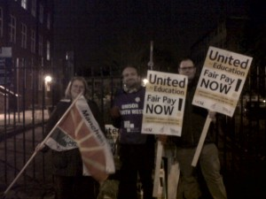 Early morning pickets at Elizabeth Gaskell Campus, Manchester Metropolitan University.