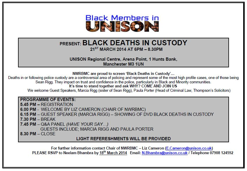 Black Deaths in Custody Screening