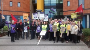 NHS staff at Salford Royal call for fair pay.  Lots of support from passing motorists.