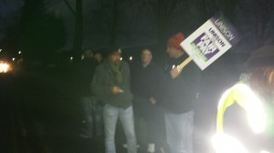 Early morning pickets at Calderstones Trust.