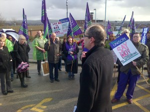 UNISON anti-privatisation lobby of Pennine Acute Trust Board meeting.  Rochdale Council leader Colin Lambert addressed protestors.