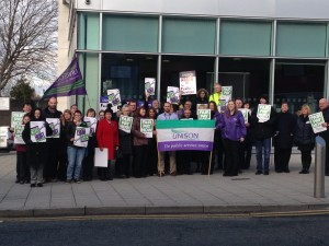 Stockport members call for a pay rise.  The branch held a food bank stall at lunchtime.