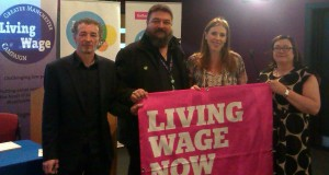 Nixon Todd, Carl Greatbatch, Angela Rayner (all UNISON) and Lynne Collins (NW TUC) at the Living Wage event at Manchester College.