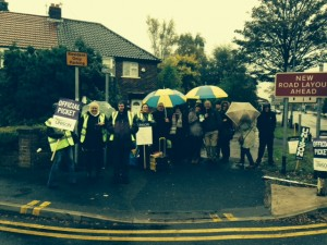 NHS staff brave the rain in Tameside.