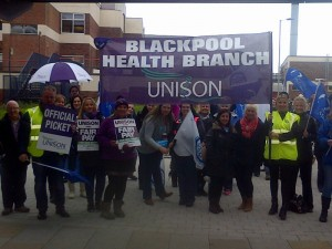 Blackpool healthworkers taking action today.