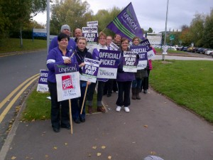 Halton General Hospital today.  Fair pay for NHS staff.