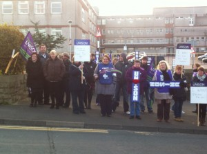 A cold but very well supported picket line at West Cumberland Hospital, Whitehaven.