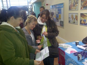 Member discussiong benefits of being in UNISON with colleagues, Hopwood Hall (Middleton Campus).